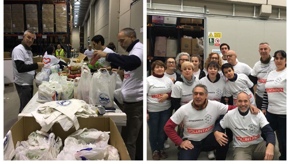 Voluntarios Atresmedia clasifican 20.000 kilos de alimentos de la Gran Recogida de Madrid